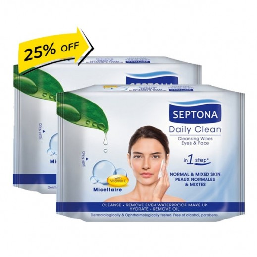 Septona Micellaire Eyes & Face Cleansing Wipes 2 x 20 Pieces