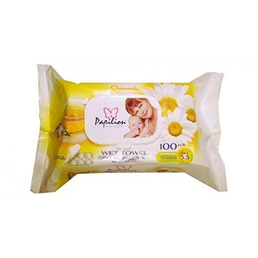 Papilion Chamomile Fragrance Wet Wipes With Cap 100 Sheets