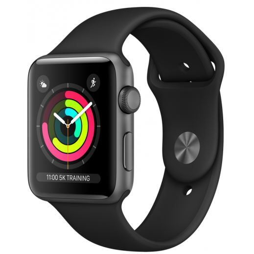 Apple Watch Series 3 42mm Space Grey Aluminum Case With Black Sport Band