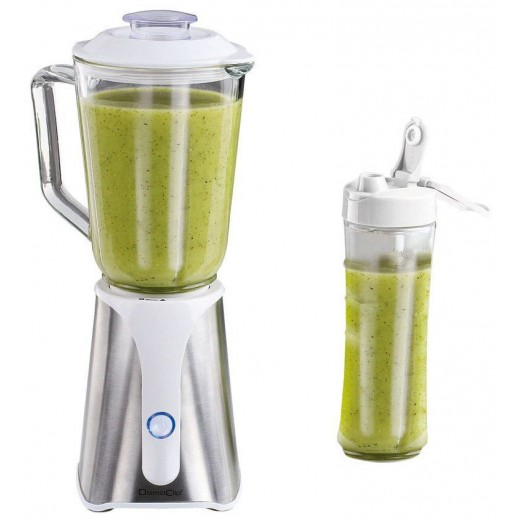 Domo Clip 2in1 Glass Blender 1 Ltr 350 W with Plastic Bowl 500 Ml - White
