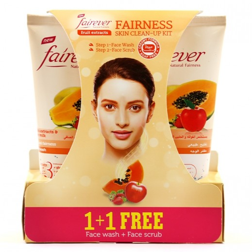 Fairever Fruits Extracts & Pure Milk Natural Fairness Face Wash 150 ml + Face Scrub 150 ml Free Prom