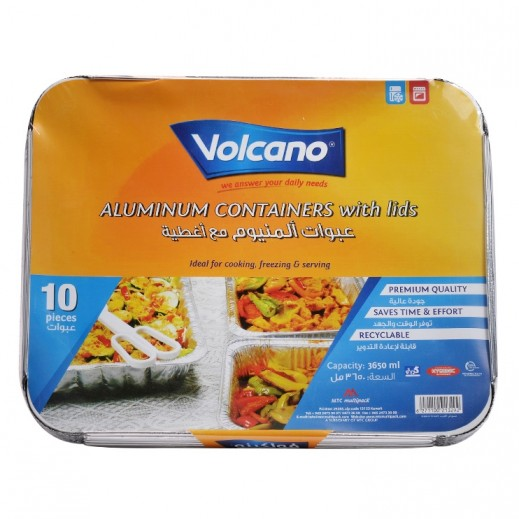 Volcano Aluminium Containers with Lids 3650 ml - 10 Pieces