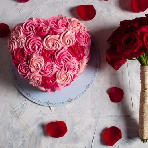 Love Cake14  with Bouquet - delivered by Layers Cake Boutique