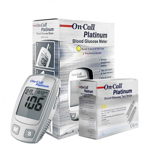 On Call Platinum Glucometer + Strips 50 Pieces