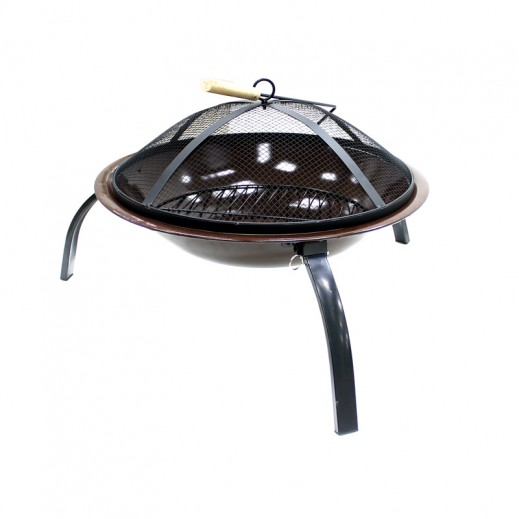 Metallic Round Fire Pit Brown 56 x 39 cm