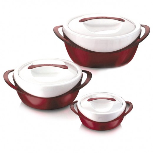 Panache (Metallic Finish) Food Warmer Set 3 Pieces -Red (600+1200+2500 ml)