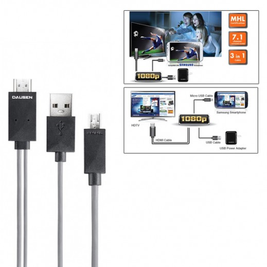 Dausen Micro USB to HDMI MHL Cable
