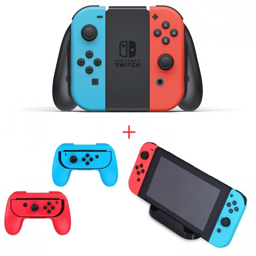 Nintendo Switch with Neon Blue and Neon Red Joy-Con + Dobe Charge Stand + Dobe Controller Grip