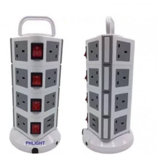 Spectrum 4 USB Ports 3 m 12 Way Power Extension  – White