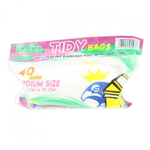 Falcon Tidy Bags Medium White 40 pieces
