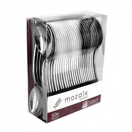 Mozaik Metalized Mini Silver Spoon 50 pieces