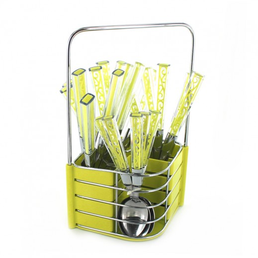 ASC 24 Pieces Cutlery Set with Stand Yellow ( Assorted Designs)
