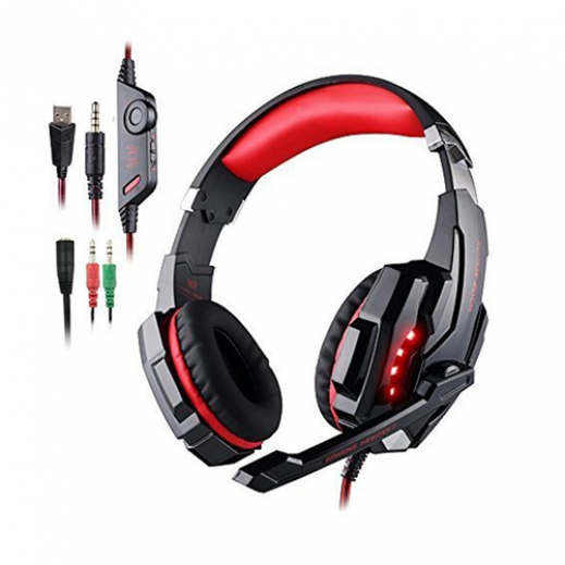 KOTION EACH G9000 3.5mm Stereo Gaming Headphone for PS4 & PC - Black & Red