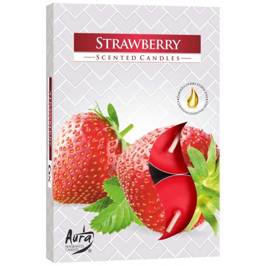 Aura Scented Candle Strawberry 66 g - 6 Pieces