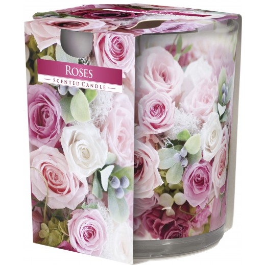 Aura Scented Candle with Decorative Film Roses 100 g
