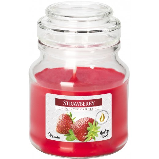 Aura Scented Candle with Lid Strawberry 120 g