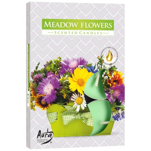 Aura Scented Candle Meadow Flowers 66 g - 6 Pieces