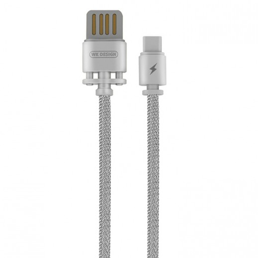 WK Design USB Type-C Metal Cable 1 M - Silver