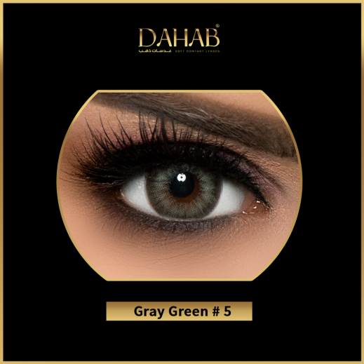 Dahab Color Blend 6 Months Non Prescription Contact Lenses Sabrin Gray Green 1 Pair with Solution