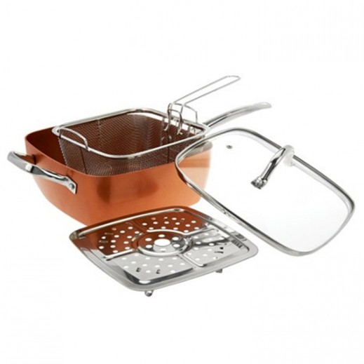 Hamilton Copper Non Stick Casserole Pan with Frying tray- 4 Pieces