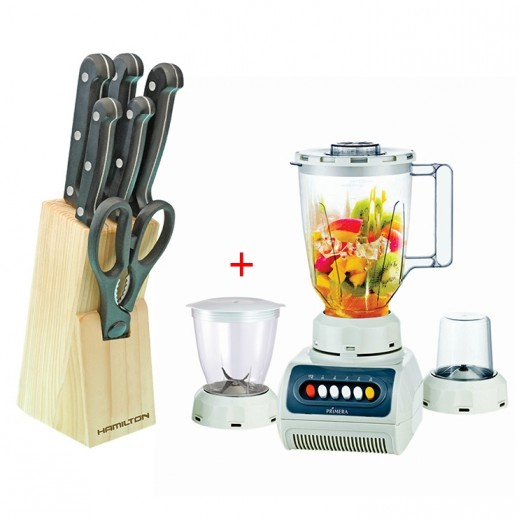 Primera 3 in 1 Juice Blender Grinder + 7 pc Knife Block Set