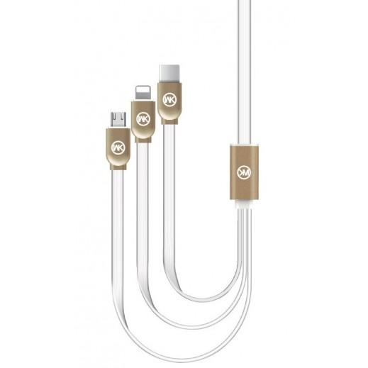 WK Design 3 in 1 Data Cable 100 cm - White
