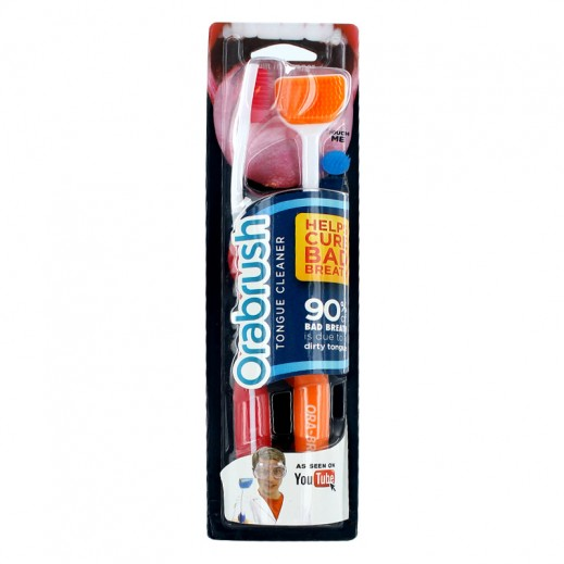 Orabrush Tongue Cleaner Twin Pack -Orange & Red