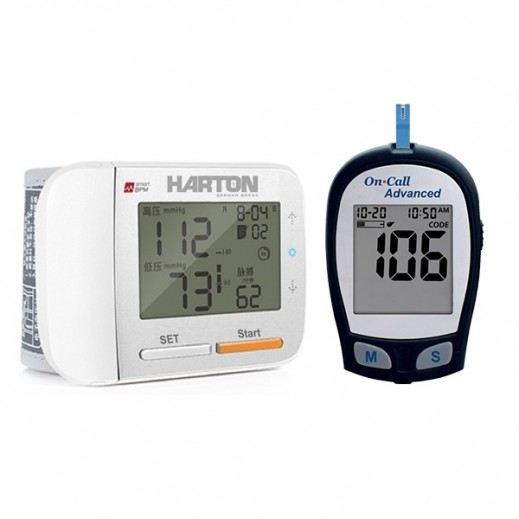 Harton Wrist Blood Pressure Monitior YE8900 + On Call Advanced Glucometer