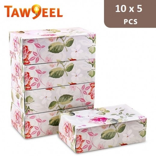 Taw9eel Floral Pattern Facial Tissues 200 x 2 Ply (50 pieces)