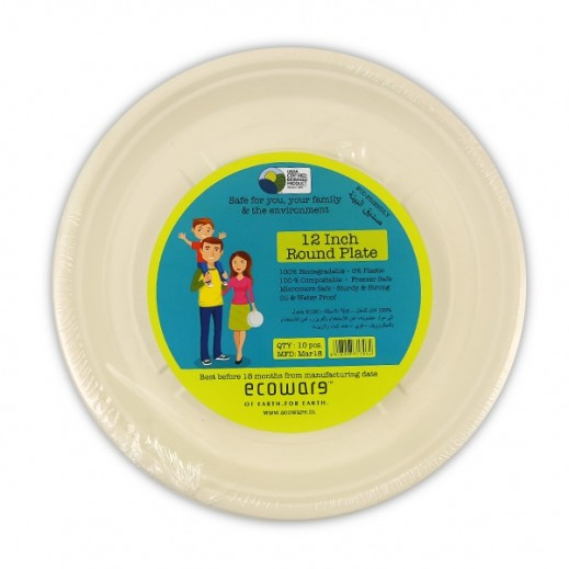 Ecoware Biodegradable Round Plates 12 inch - 10 Pieces