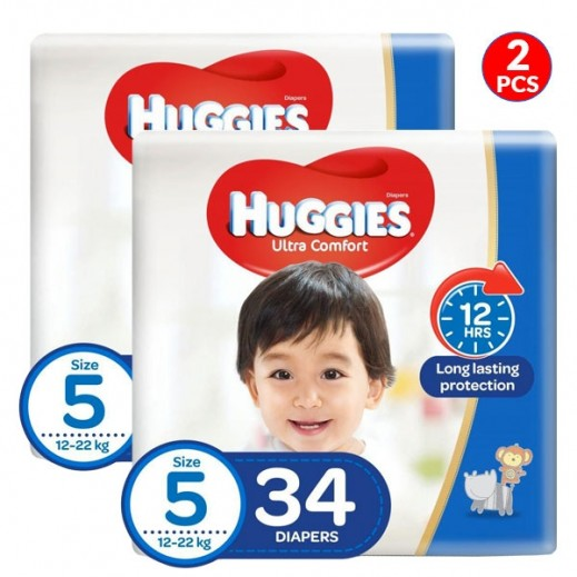 Huggies Super Flex Junior Size 5 (12-22 kg) 2 x 34 Pieces