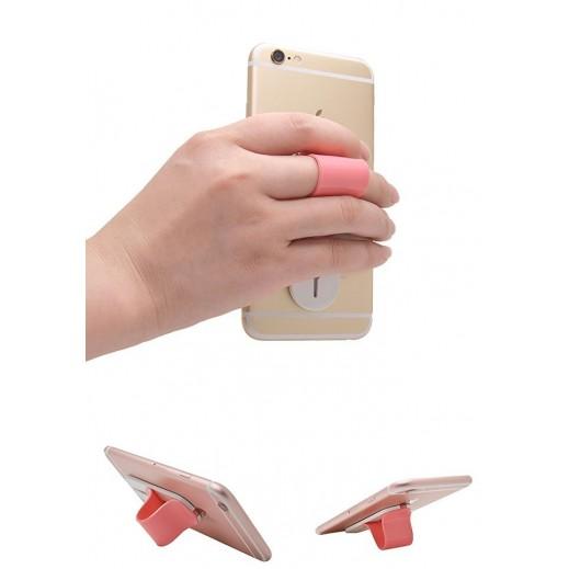 Multi Band Finger Grip Self Standing & Car Holder Pink