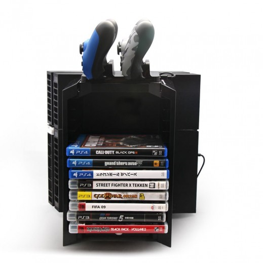 Multi-function Game Discs Storage Tower/Cooling/Controller Charging Station for PS4/PS3