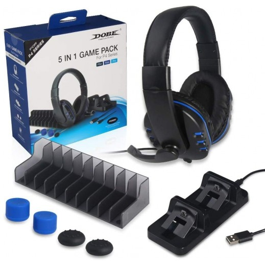 Dobe 5 In 1 Accessories Set for PS4 - Black