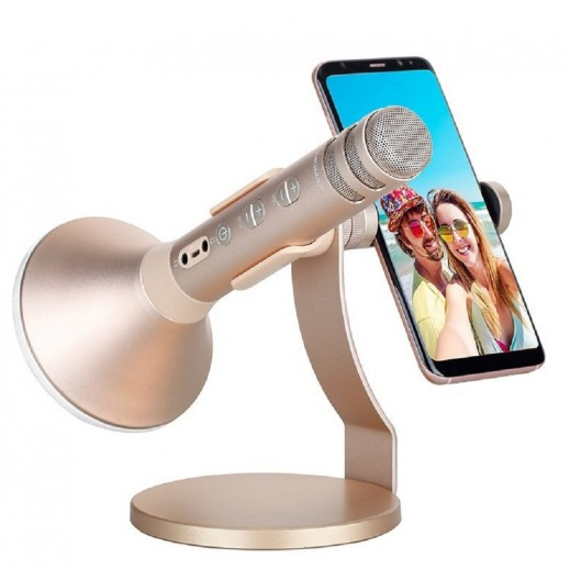 Momax KMIC PRO Wireless Rechargeable Karoake Mic and Speaker with Stand 2500mAh for Smartphones – Gold