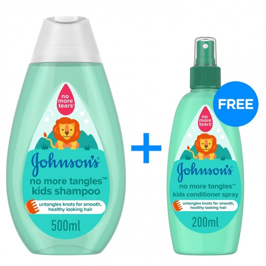 JOHNSON'S No More Tangles Shampoo 500 + Conditioner Spray 200 ml Free