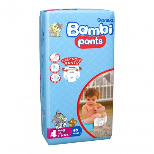 Sanita Bambi Pants Size 4 Large (8-14 Kg) 50 Pieces