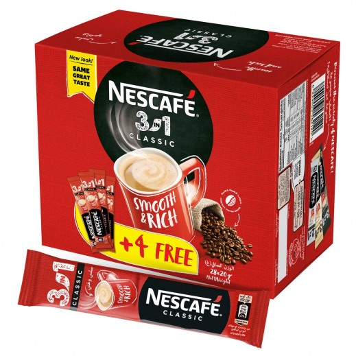 Nescafe 3 in 1 Instant Coffee Mix Sachet 20 g (24 + 4 Free)