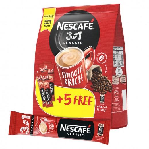 Nescafe 3 in1 Instant Coffee Mix Sachet 20 g (30 + 5 Free)