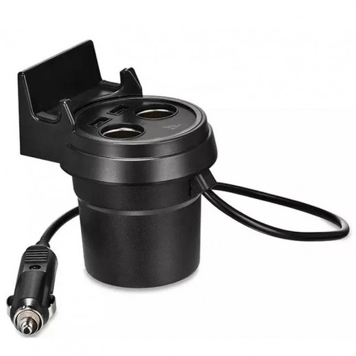 Hoco Multifunctional Cup Shape Car Charger for All Smartphones - Black