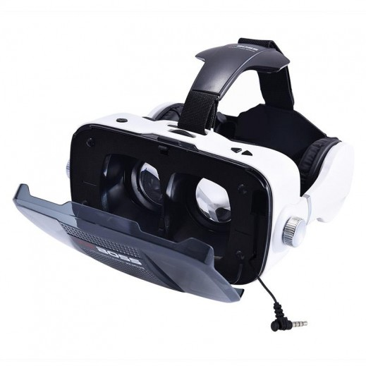 VR BOSS 3D Integrate Visual & Audition VR Headset with Mic - White