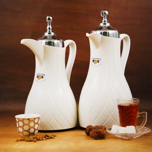 ASC Vacuum Flask Set White and Silver - 2 Pieces