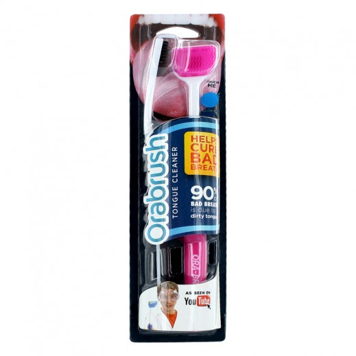 Orabrush Tongue Cleaner 2 Pieces -Pink & Black