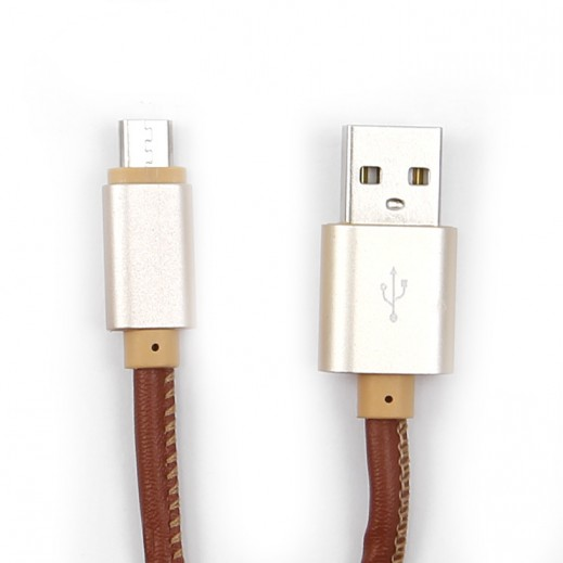 NHE Leather Micro USB Charging Cable for Smartphones 2.4A – Brown