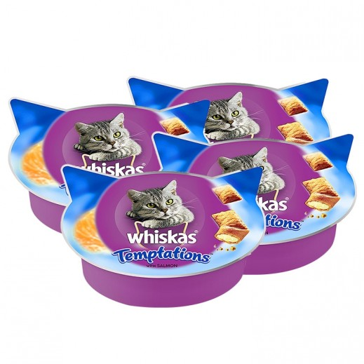 Whiskas Temptations With Salmon Cat Treat 4x60 g