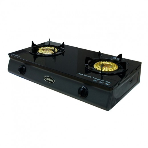 Sungas 2 Burner Gas Cooker With Glass Table Top