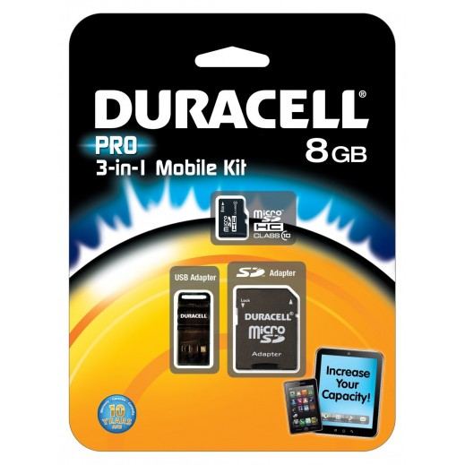 Duracell 3 in 1 Kit Micro SD Card + SD Adapter + USB Adapter 8GB