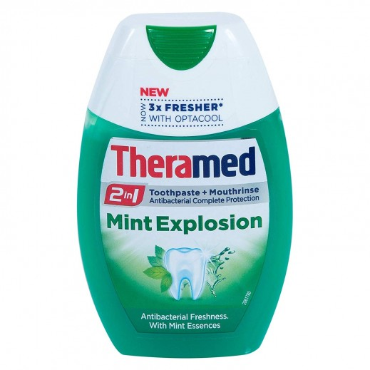 Theramed 2 In 1 Mint Explosion Toothpaste +Mouth Rinse 75 ml