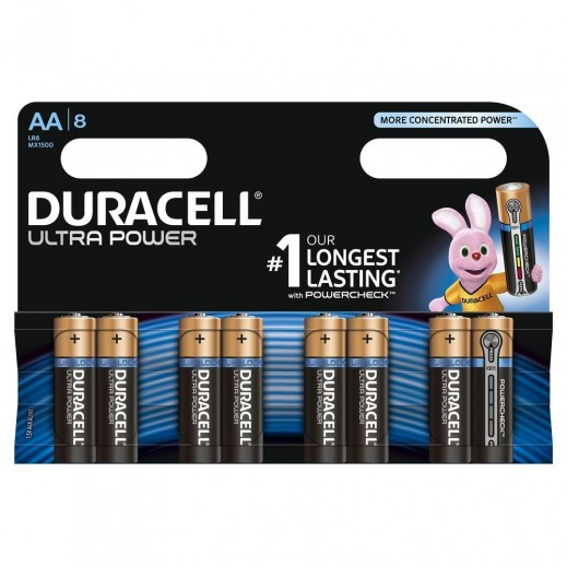 Duracell AA Alkaline Ultra Power Batteries 8 Pack (1.5V)