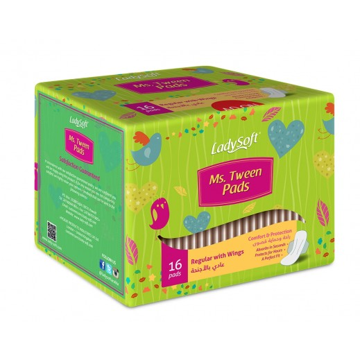 Lady Soft Ms.Tween Pads Regualr With Wings 16 Pieces